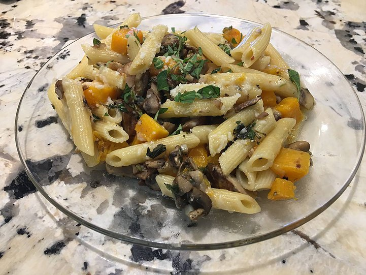 Penne Pasta and Butternut Squash with Mushrooms. Two foods he said he would never eat.